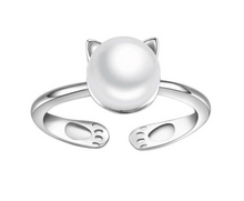 Load image into Gallery viewer, Cat Ear Pearl Adjustable Ring