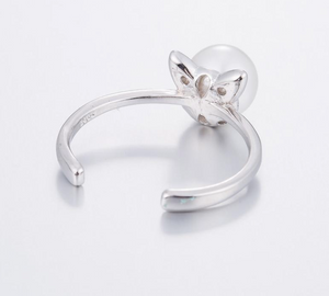 Cat Ear Pearl Adjustable Ring