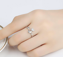 Load image into Gallery viewer, Crystal Inlay Cubic Zirconia Cat Ring