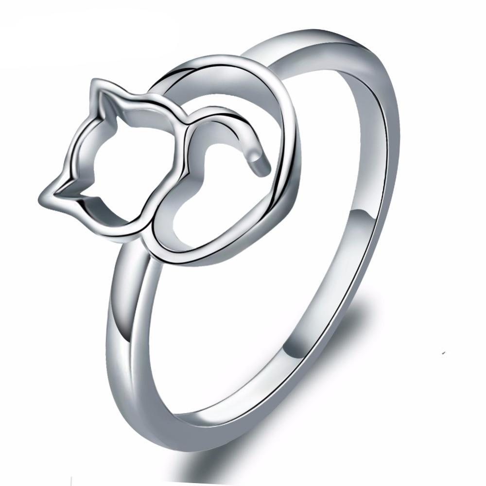 Cute Silver Plated Cat Ring
