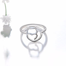 Load image into Gallery viewer, Cute Silver Plated Cat Ring