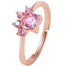 Load image into Gallery viewer, Stunning Cat Paw Rose Gold Resizable Ring
