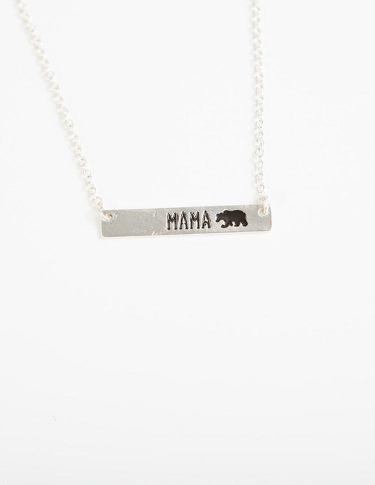 Mama Bear Necklace Silver