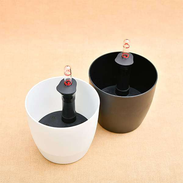 11.3 inch (29 cm) Ronda No. 2926 Self Watering Round Plastic Planters (Black, White) - Pack of Two - Nurserylive