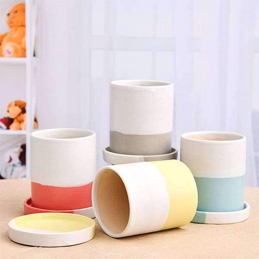 3.1 inch (8 cm) Cylindrical Ceramic Pots with Plates - Pack of Four - Nurserylive