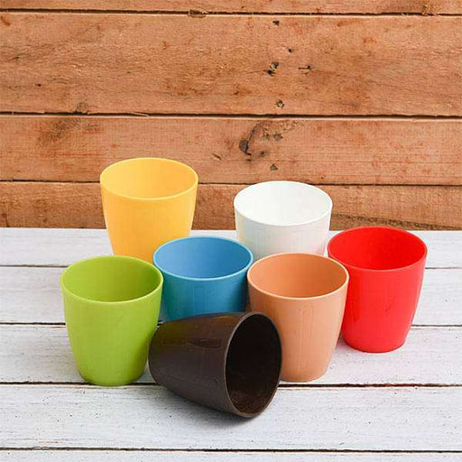 3 inch (8 cm) Mini Ronda Round Plastic Pot (Mix Color) - Pack of Seven - Nurserylive