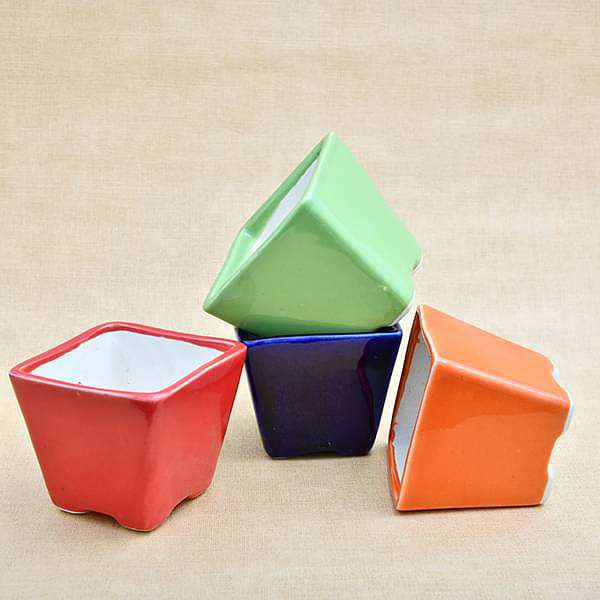 3 inch (8 cm) Square Cone Ceramic Pots - Pack of Four - Nurserylive