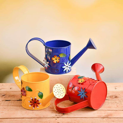 4.3 inch (11 cm) Flower Embossed Small Round Metal Watering Can Planter - Pack of 3 - Nurserylive
