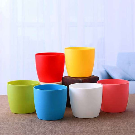 4.5 inch (11 cm) Ronda No. 1110 Round Plastic Planter (Mix Color) - Pack of Six - Nurserylive