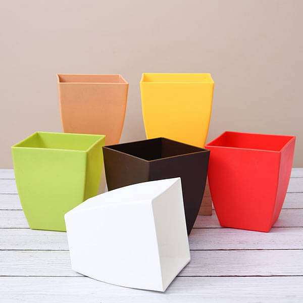 4.7 inch (12 cm) Chatura No. 12 Square Plastic Planters (Mix Color) - Pack of Six