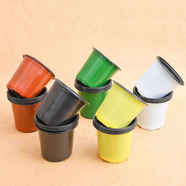 5.1 inch (13 cm) Round Thermoform Pot (Mix Color) - Pack of Twenty - Nurserylive