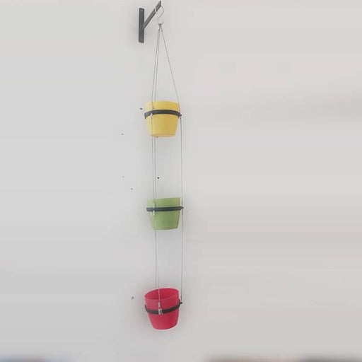 5.3 inch (13 cm) Ronda No. 1412 Round Plastic Planters with 3 Tier Hanging Kit (Red, Green, Yellow) - Nurserylive