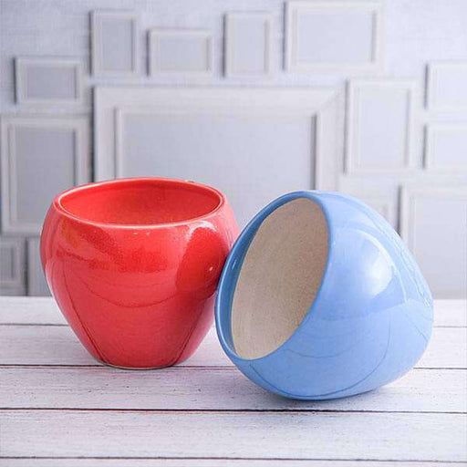 5.7 inch (14 cm) Apple Round Ceramic Pots - Pack of Two - Nurserylive
