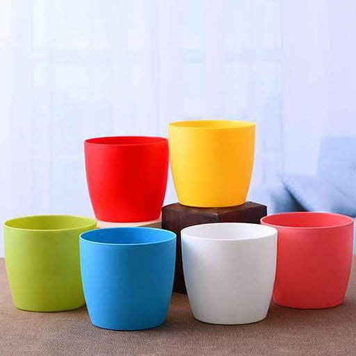 5.7 inch (14 cm) Ronda No. 14.5 Round Plastic Planter (Mix Color) - Pack of Six - Nurserylive