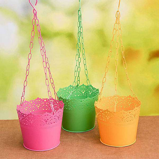 6.5 inch (17 cm) Aching Hanging Round Metal Pot with Chain - Pack of 3 - Nurserylive