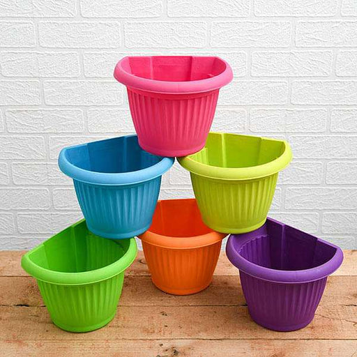 7.9 inch (20 cm) Bello Wall Mounted D Shape plastic Planters (Mix Color) - Pack of Six - Nurserylive