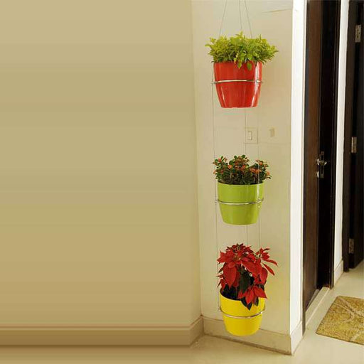 9.1 inch (23 cm) Ronda No. 2320 Round Plastic Planters with 3 Tier Hanging Kit (Red, Green, Yellow) - Nurserylive