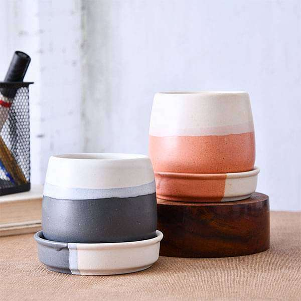 Jar Shape Round Ceramic Pots with Plates - Pack of Two - Nurserylive