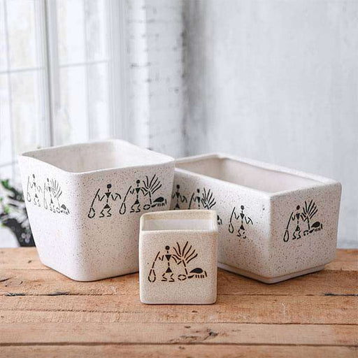 Warli Painting Ceramic Pots - Pack of Three - Nurserylive