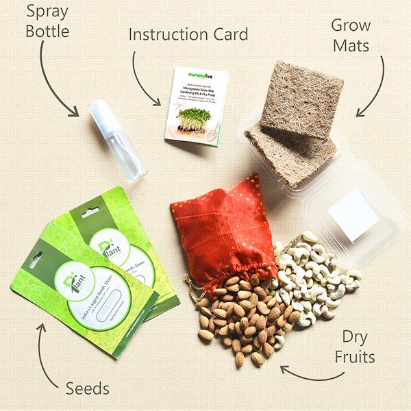 Gardening Made Easy with Microgreens Grow Mat Gardening Kit and Dry Fruits Gift pack