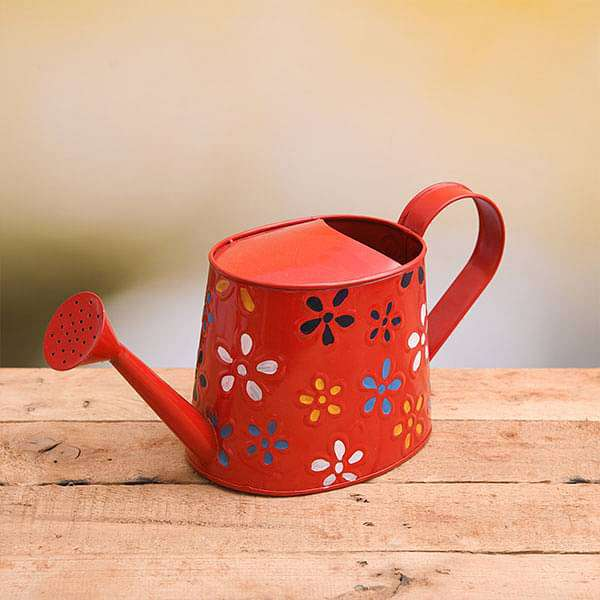 Hand Printed Round Metal Watering Can (Red) - Gardening Tool