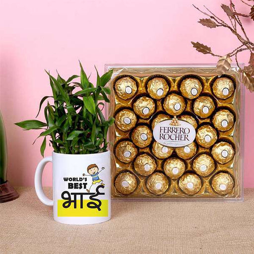 2 Layer Lucky Bamboo with Printed Mug and Chocolates for Best Brother - Nurserylive