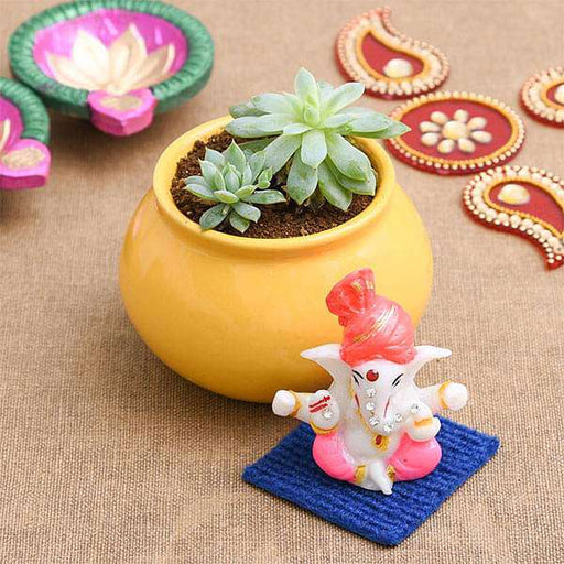 Bring Good Luck with Laxmi Kamal and Lord Ganesha Idol - Nurserylive