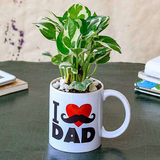 Refreshing Money Plant in I Love Dad Mug for Workaholic Dad - Nurserylive