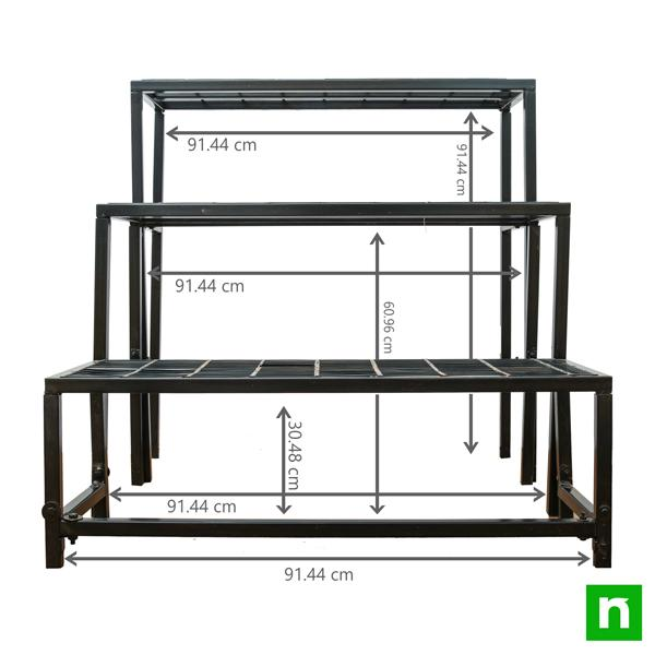 Metal Planter Stand No. NL0137H (Rectangle, 3-Tier)