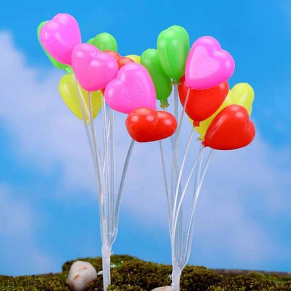 Balloon plastic miniature garden toys (Heart shape) - 1 Bunch - Nurserylive