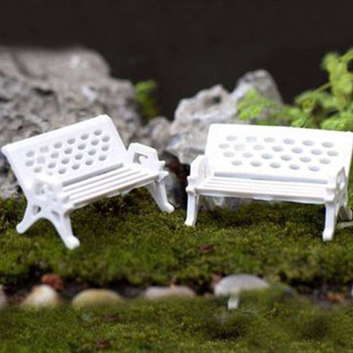 Bench plastic miniature garden toy (White) - 1 Piece - Nurserylive
