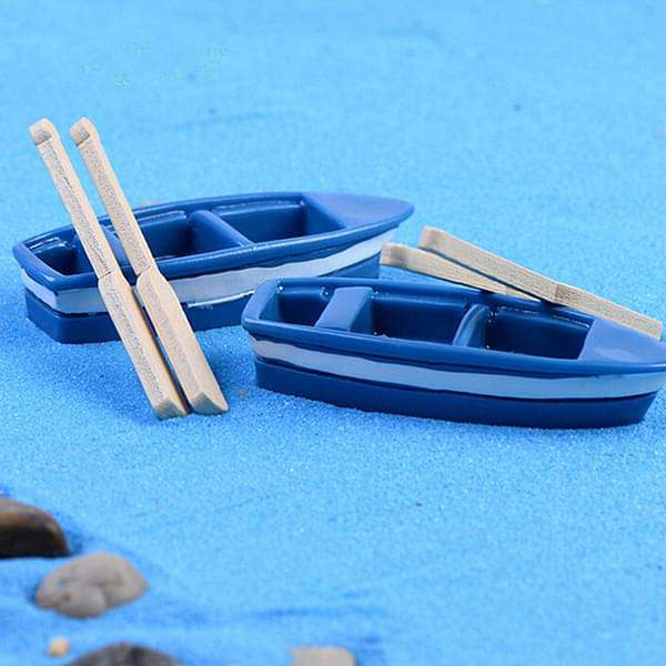 Boat with oars plastic miniature garden toys - 1 Set - Nurserylive