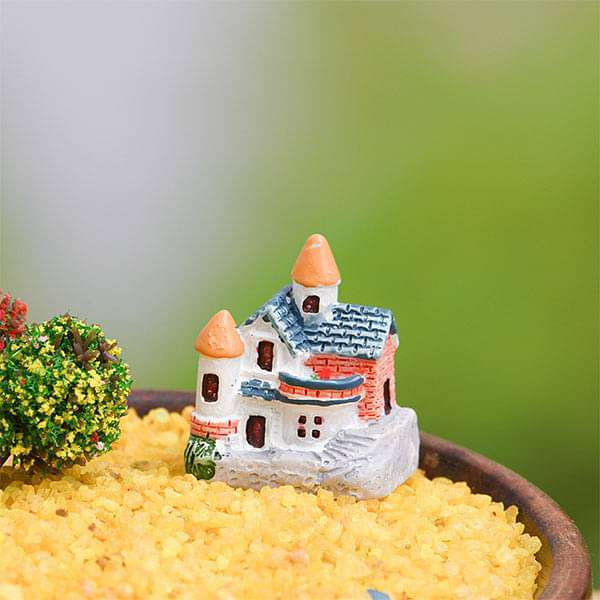 Brick villa plastic miniature garden toy (Blue) - 1 Piece - Nurserylive