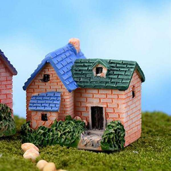 Brick villa plastic miniature garden toy (Blue, Green) - 1 Piece - Nurserylive