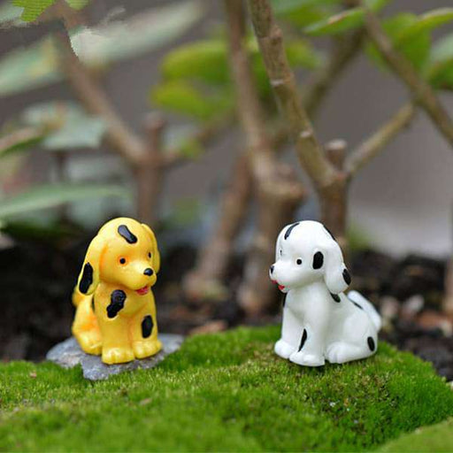 Dogs plastic miniature garden toys (White, Yellow) - 1 Pair - Nurserylive