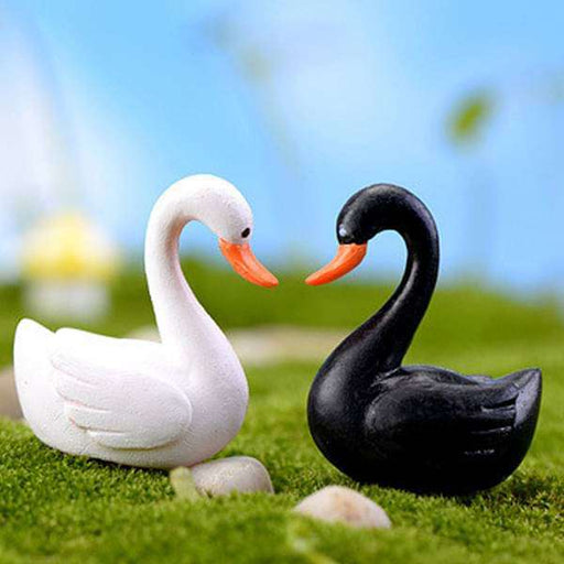 Love swan couple plastic miniature garden toys - 1 Pair - Nurserylive