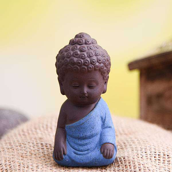 Meditating buddha ceramic miniature garden toy (Blue, Matt Finish) - 1 Piece - Nurserylive