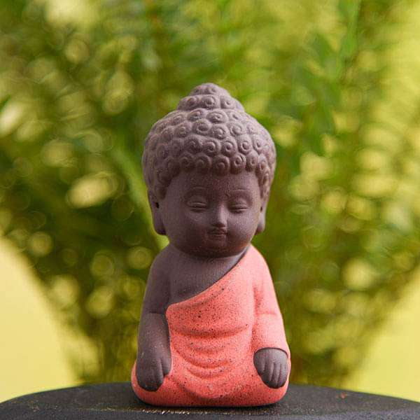 Meditating buddha ceramic miniature garden toy (Orange, Matt Finish) - 1 Piece - Nurserylive