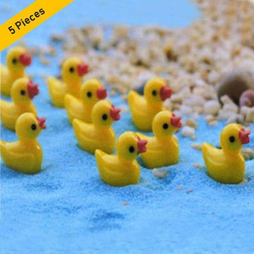 Mini ducks plastic miniature garden toys (Yellow)- 5 Pieces - Nurserylive