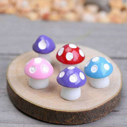 Mushrooms plastic miniature garden toys (Random colors) - 8 Pieces - Nurserylive