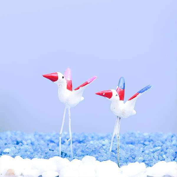 Pin flamingos plastic miniature garden toys (Colorful) - 1 Pair - Nurserylive