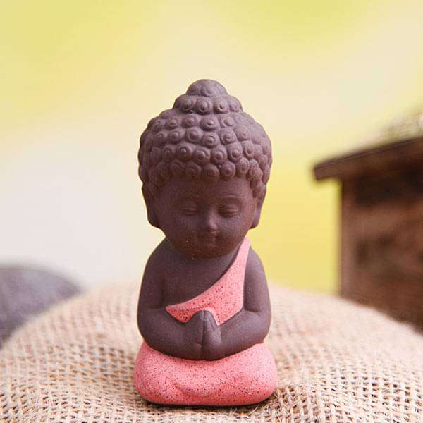 Praying buddha ceramic miniature garden toy (Orange, Matt Finish) - 1 Piece - Nurserylive