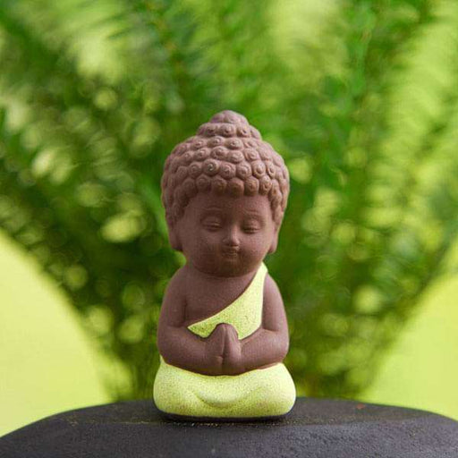 Praying buddha ceramic miniature garden toy (Parrot Green, Matt Finish) - 1 Piece - Nurserylive