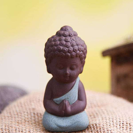 Praying buddha ceramic miniature garden toy (Teal Green, Matt Finish) - 1 Piece - Nurserylive