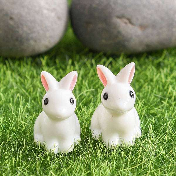 Rabbit plastic miniature garden toys - 1 Pair - Nurserylive