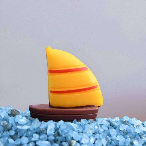 Sailboat plastic miniature garden toy (Yellow)- 1 Piece - Nurserylive