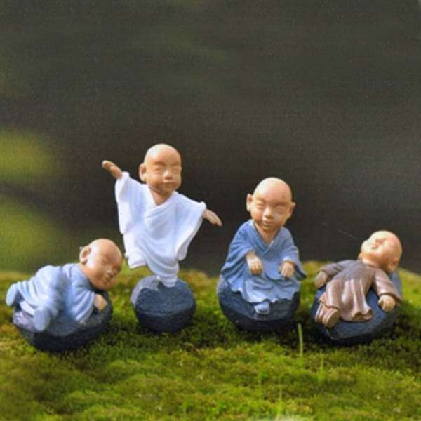 Shaolin Monks plastic miniature garden toys - 4 Pieces