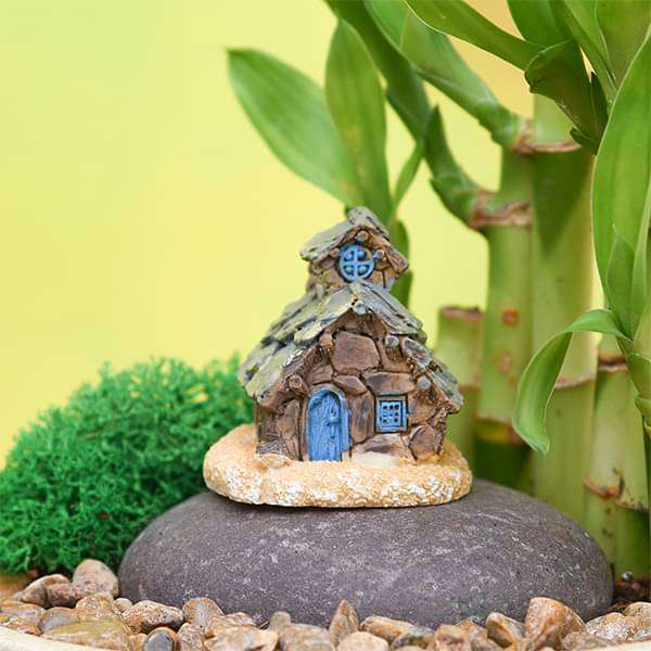 Stone house plastic miniature garden toy (Coffee) - 1 Piece - Nurserylive