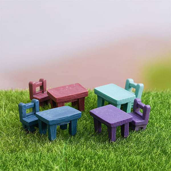 Table and chair sets plastic miniature garden toys - 4 Pairs - Nurserylive