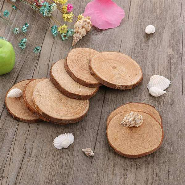 Tree trunk slices wooden miniature garden toys - 3 Pieces - Nurserylive